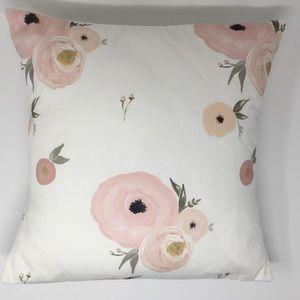 "Laurel & Blush 16"" Floral Accent Throw Pillow"